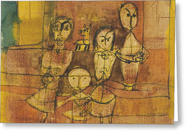 Children And Dog Greeting Card by Paul Klee