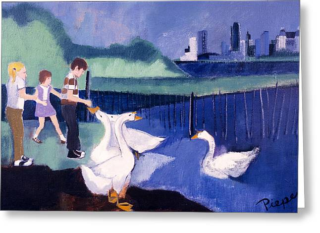 Greeting Card featuring the painting Children And Geese In Central Park 1971 by Betty Pieper
