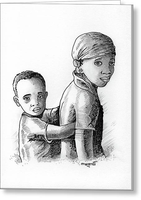 Children Greeting Card by Anthony Mwangi