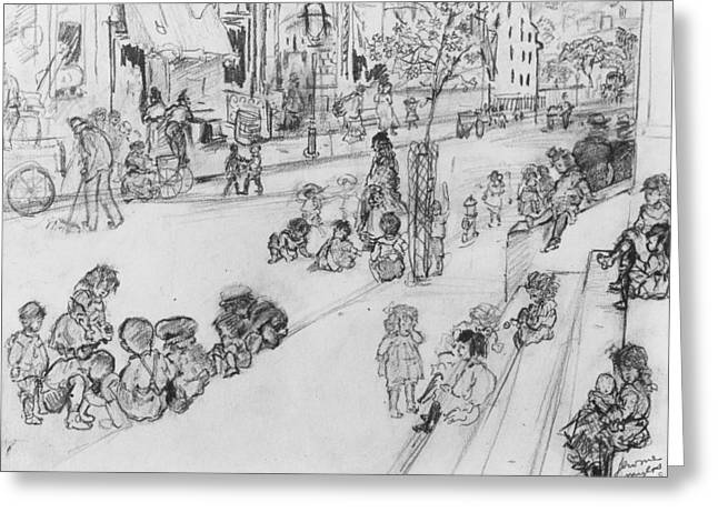 Children At Play Greeting Card by Jerome Myers