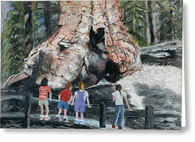 Children At Sequoia National Park Greeting Card by Quwatha Valentine