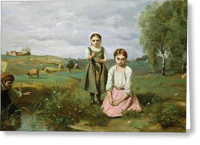 Children Beside A Brook In The Countryside, Lormes Greeting Card by Jean Baptiste Camille Corot