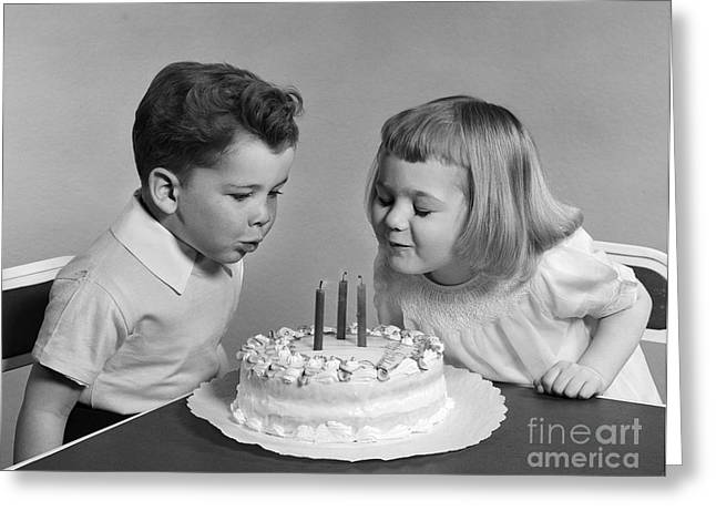 Children Blowing Out Birthday Candles Greeting Card by H. Armstrong Roberts/ClassicStock