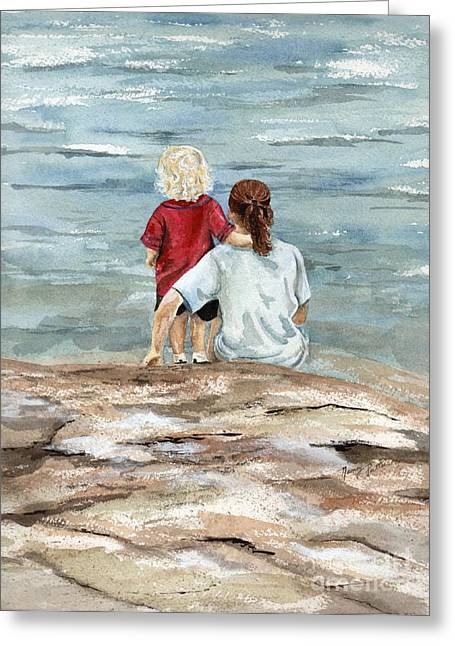 Children By The Sea  Greeting Card