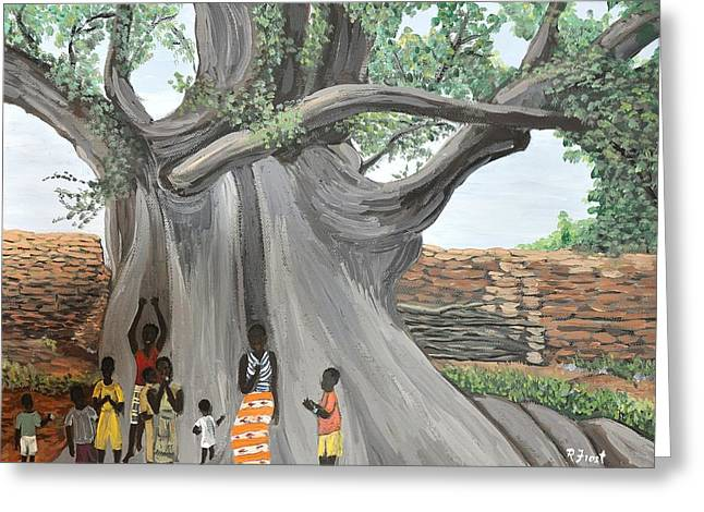 Nature Scene Paintings Greeting Cards - Children by the Tree Burkina Faso Series Greeting Card by Reb Frost