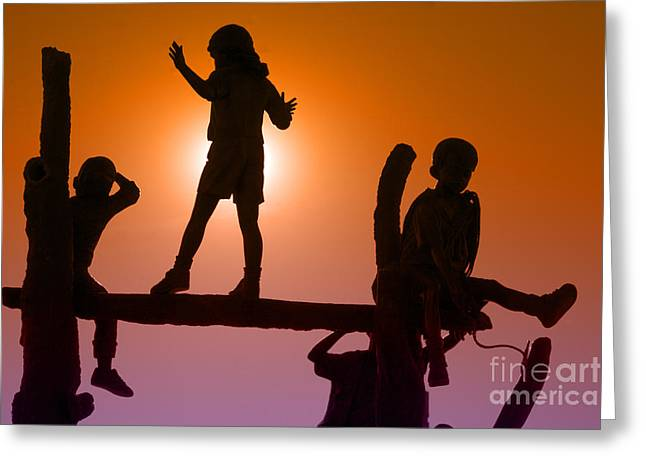 Children Climbing Greeting Card by Tim Hightower