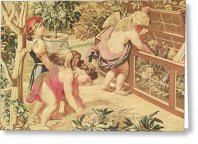 Children Gardening Greeting Card by Charles Le Brun