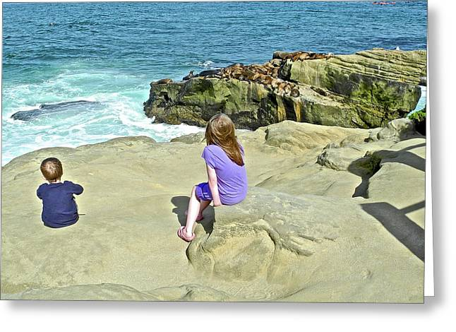 Children Getting A Good View Of Sea Lions On A Rock In La Jolla-california Greeting Card
