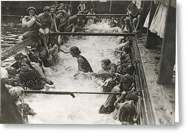 Children Getting Swim Lessons Greeting Card by Underwood Archives