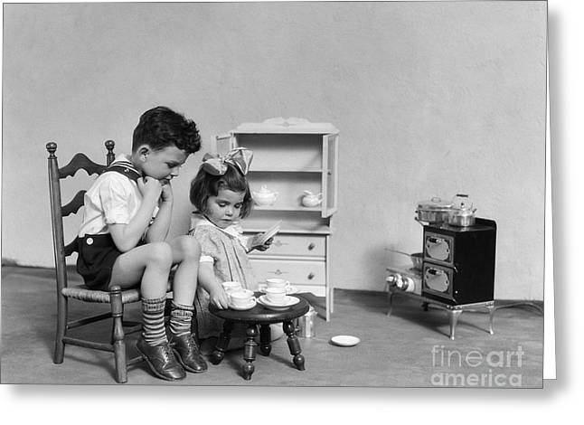 Children Having A Tea Party, C.1930s Greeting Card by H. Armstrong Roberts/ClassicStock