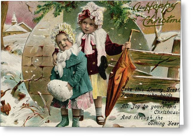 Children In The Snow, Victorian Christmas Card Greeting Card by English School