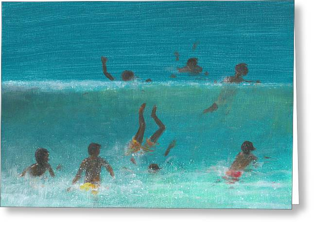 Children In The Surf Greeting Card by Lincoln Seligman
