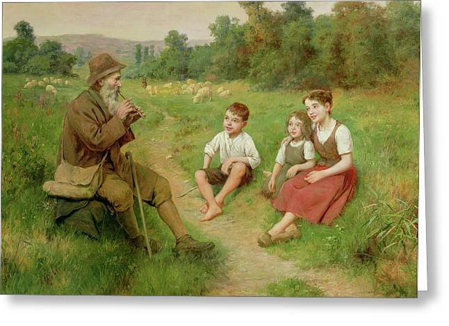 Children Music Greeting Cards - Children Listen to a Shepherd Playing a Flute Greeting Card by J Alsina