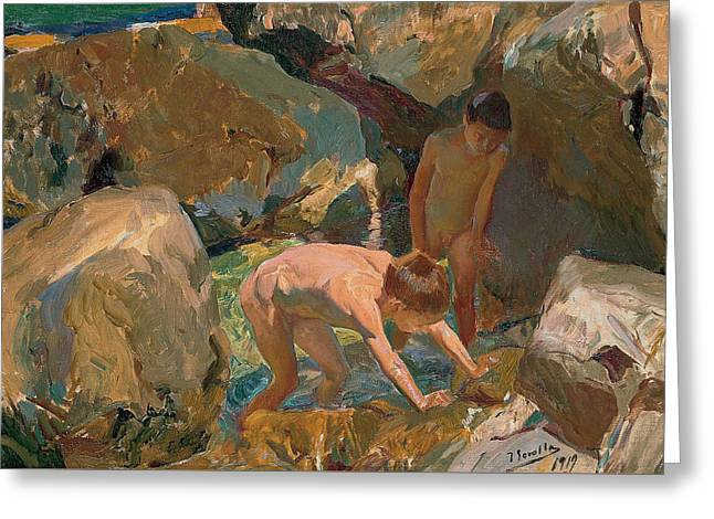 Children Looking For Shellfish Greeting Card by Joaquin Sorolla