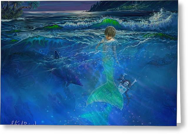 Greeting Card featuring the painting Children Of The Sea by Steve Roberts