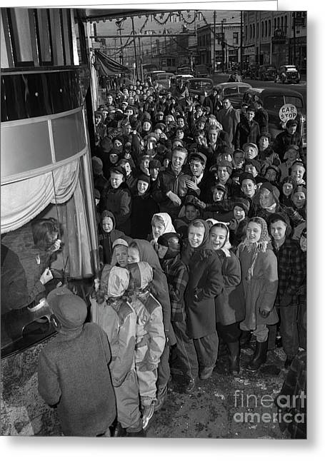 Children On Line For The Movies, 1946 Greeting Card by The Harrington Collection