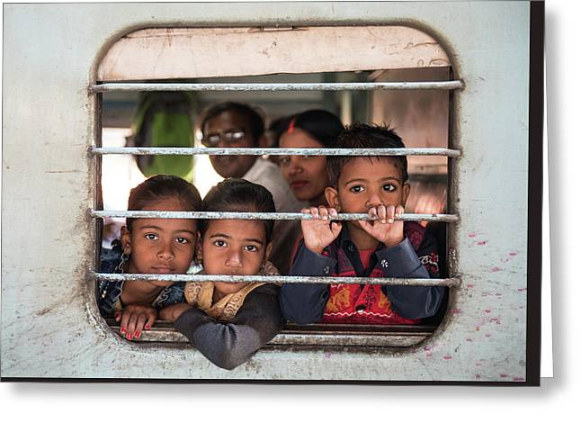 Greeting Card featuring the photograph Children On The Train by Michalakis Ppalis