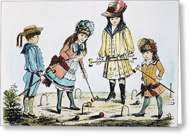 Children Playing Croquet Greeting Card by Granger