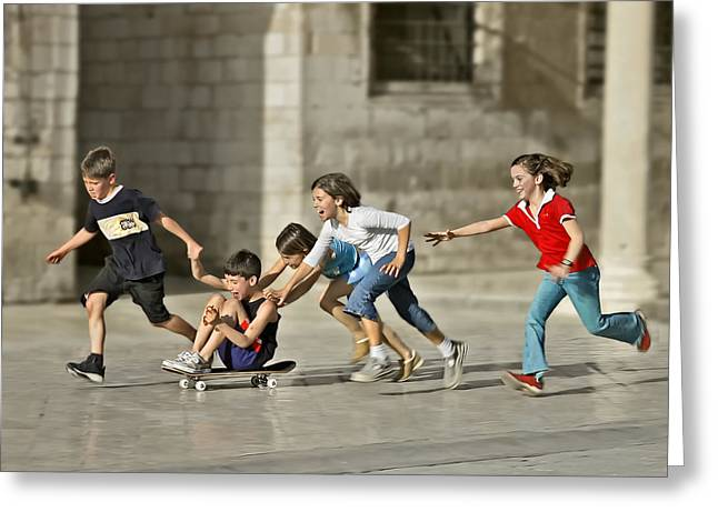 Children Playing In Dubrovnik Greeting Card by Herbert A. Franke
