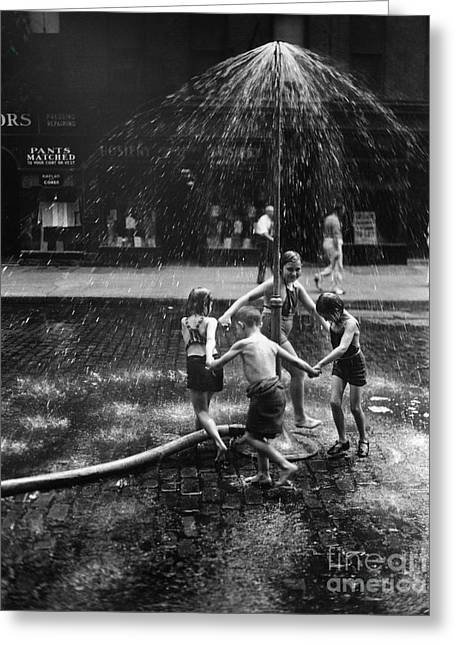 Children Playing In Spray From Hydrant Greeting Card by H. Armstrong Roberts/ClassicStock