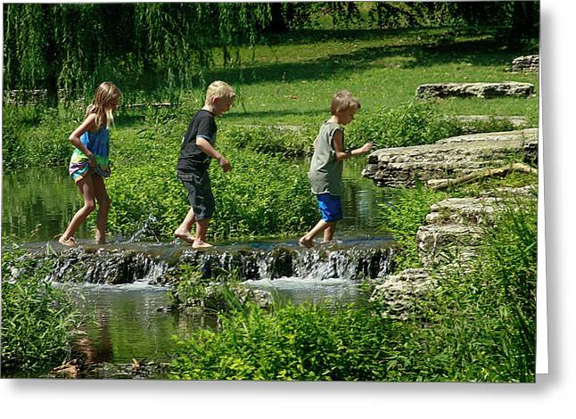 Children Playing In The Deer Lake Riffles Greeting Card by Garry McMichael