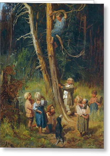 Children Raiding Nests In The Forest Greeting Card