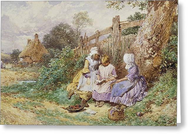 Children Reading Beside A Country Lane Greeting Card