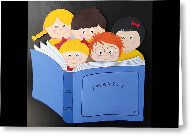 Children Reading Book Greeting Card