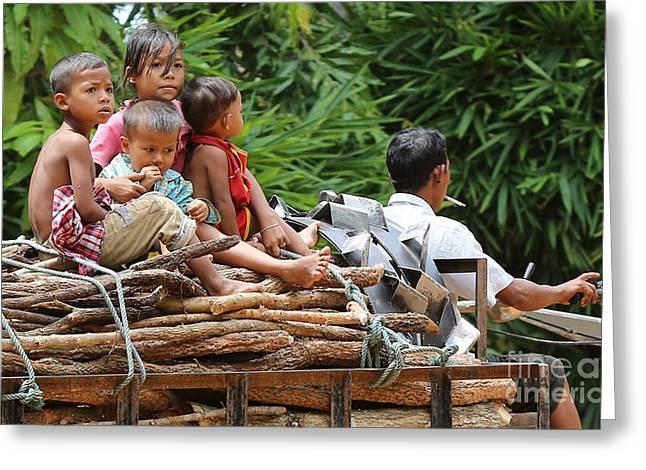 Children Ride Cambodia Greeting Card
