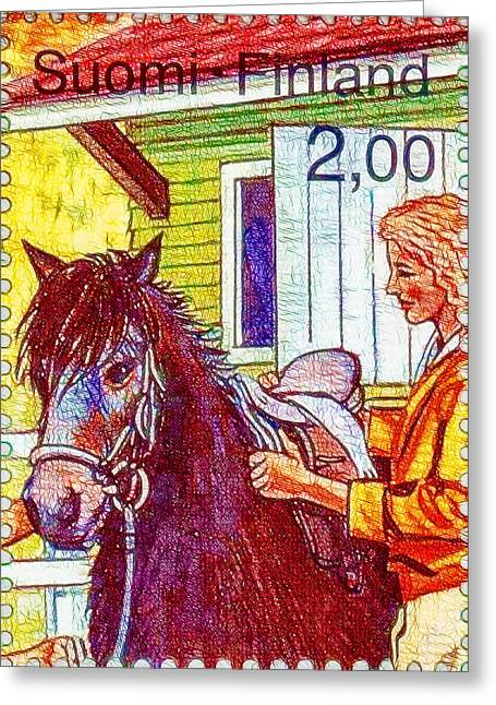 Children Taking Care Of Horses 1 Greeting Card by Lanjee Chee