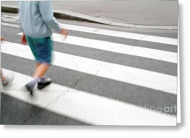 Children Walking Across A Zebra Crossing On A City Street Greeting Card