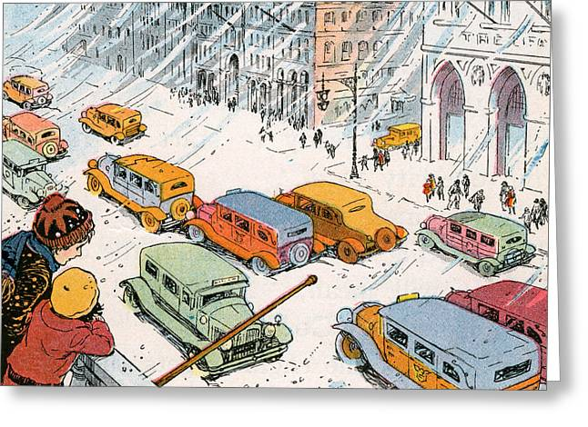 Children Watching City Traffic In A Snowstorm Greeting Card