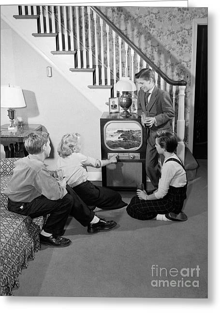 Children Watching Tv, C.1950s Greeting Card by H. Armstrong Roberts/ClassicStock