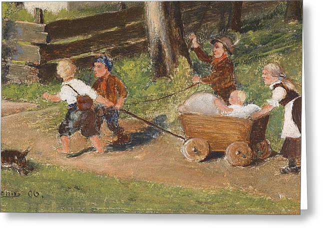 Children With Cart Young Greeting Card by Hugo Kauffmann