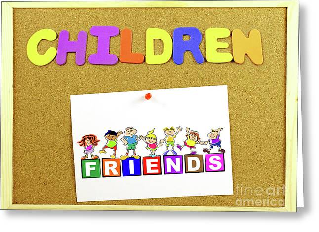 Children Word On A Corkboard Greeting Card