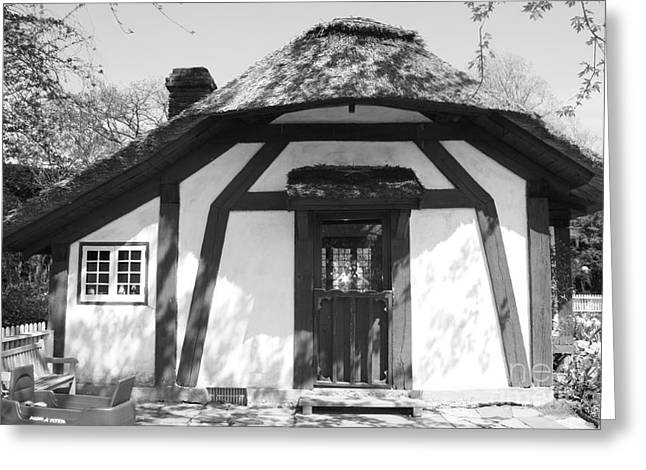 Children's Cottage At Old Westbury Gardens In Black And White Greeting Card by John Telfer