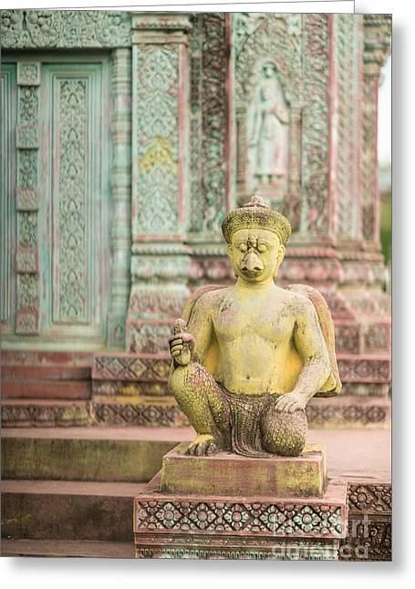 Childrens Hospital Temple Details In Siem Reap Greeting Card