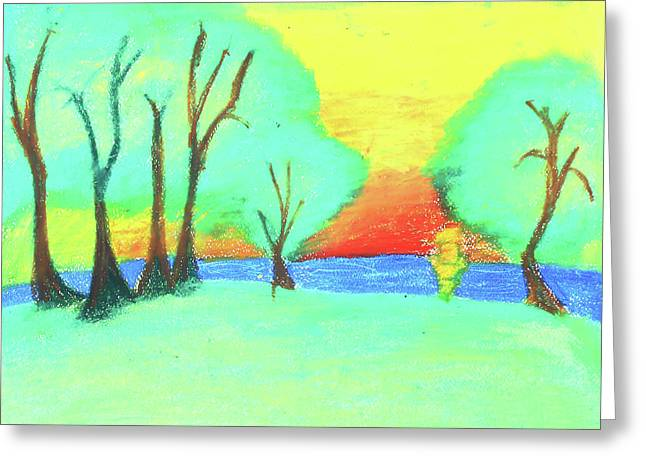 Children's Paint Summer Nature  Greeting Card by Sujin Jetkasettakorn