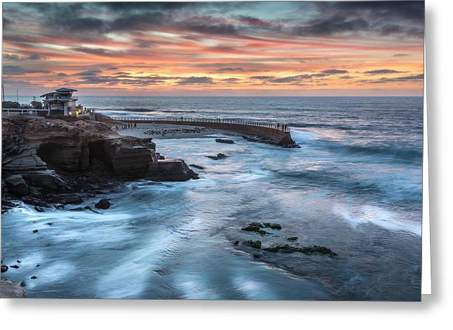 Childrens Pool Fall Sunset Greeting Card by Scott Cunningham