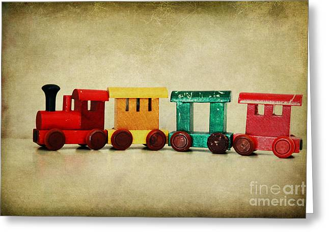 Childs Wooden Train Greeting Card by Jacqueline Moore