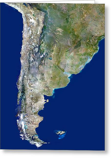 Chile And Argentina, Satellite Image Greeting Card by Planetobserver