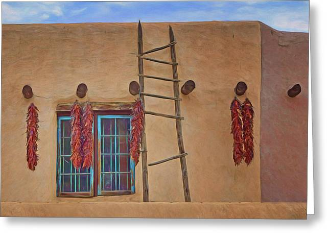 Chile Ristras - Window - Ladder Greeting Card