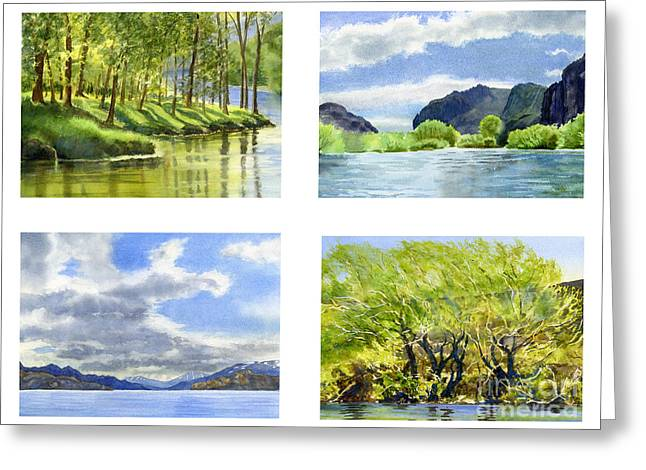 Chilean Trees, Reflections, Mountain Cliffs Greeting Card by Sharon Freeman