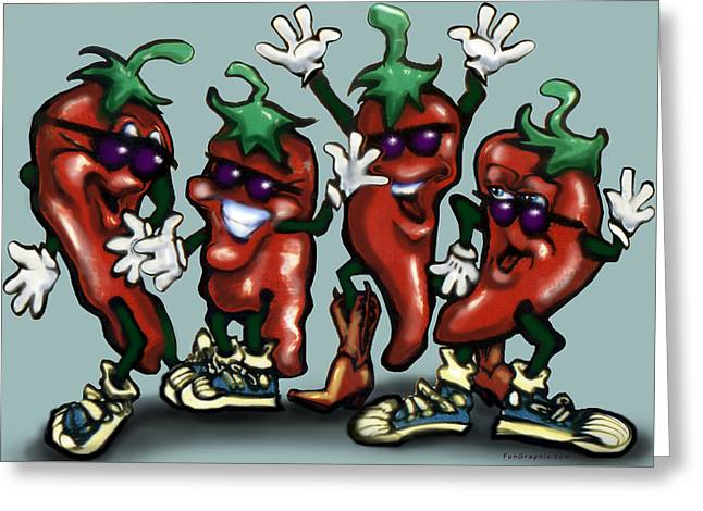Chili Peppers Gang Greeting Card by Kevin Middleton