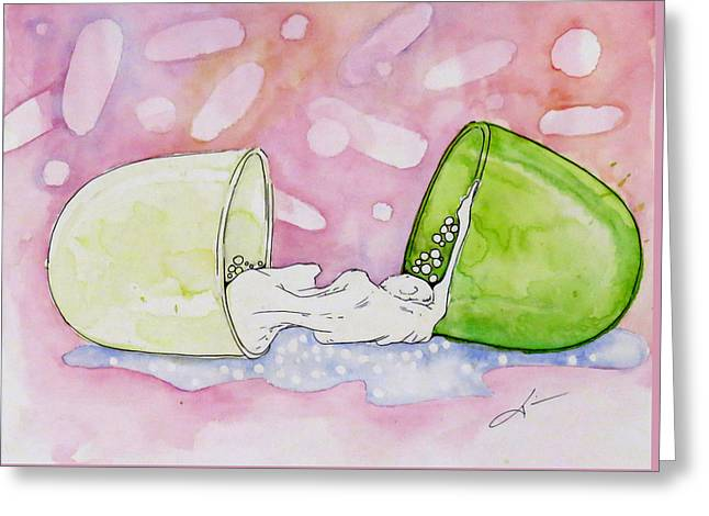 Chill Pill Greeting Card by Kim Collins