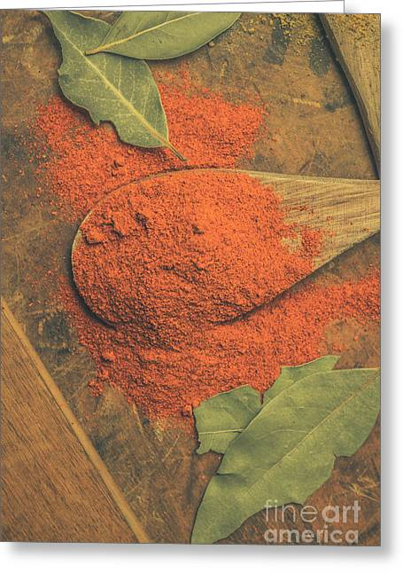 Chilli Powder And Bay Leaves Greeting Card