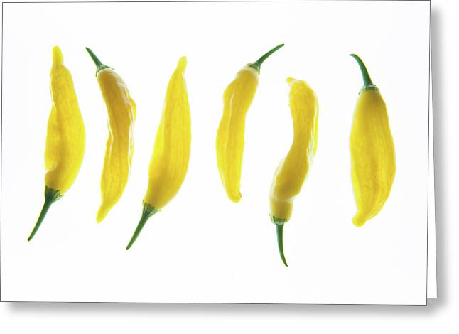 Chillies Lined Up II Greeting Card