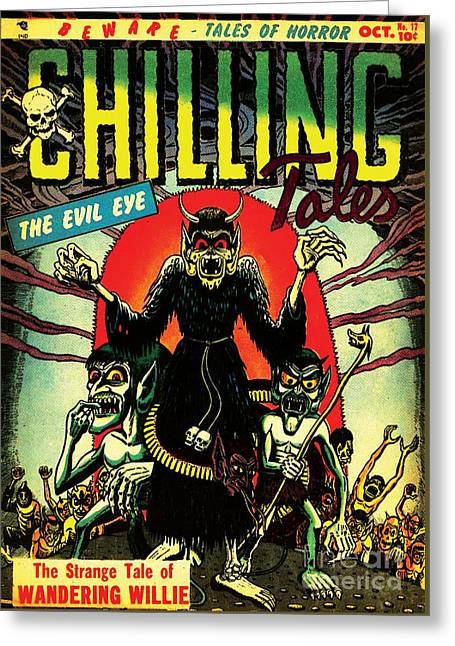 Chilling Tales 17 Horror Comic Cover Restored Greeting Card by Halloween Dreams