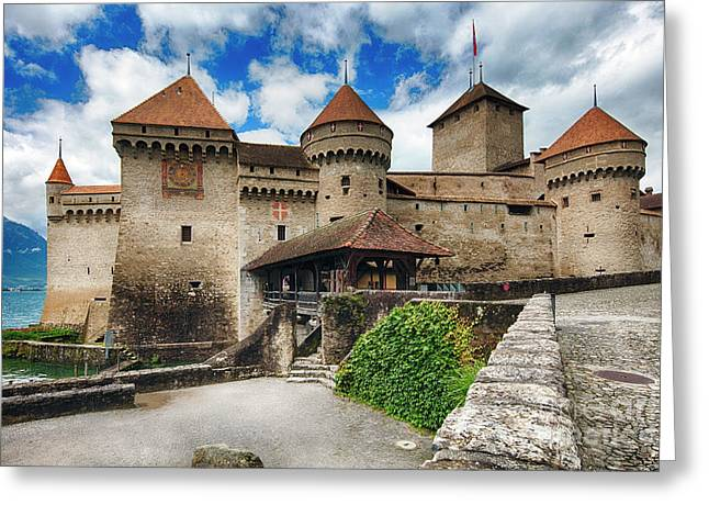 Chillon Castle Entrance Greeting Card by George Oze