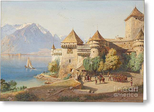 Chillon Castle On Lake Geneva Greeting Card by MotionAge Designs